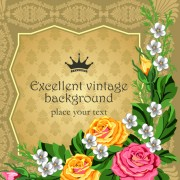 Link toSet of frame with flowers luxurious vector background 03