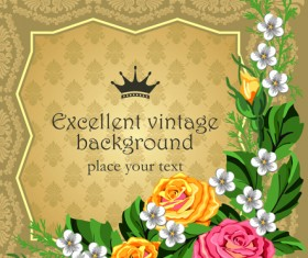 Set of Frame with flowers luxurious vector background 03