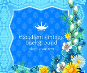 Set of Frame with flowers luxurious vector background 05