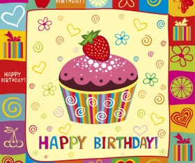 Happy Birthday elements card vector 01