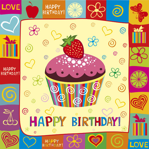 Happy Birthday elements card vector 01