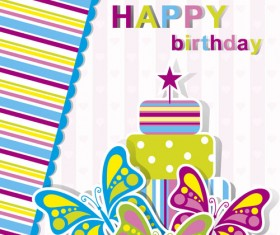 Happy Birthday elements card vector 03