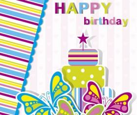 Happy Birthday elements card vector 03