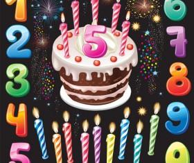 Happy Birthday elements card vector 04