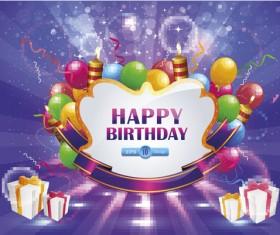 Happy Birthday elements card vector 05