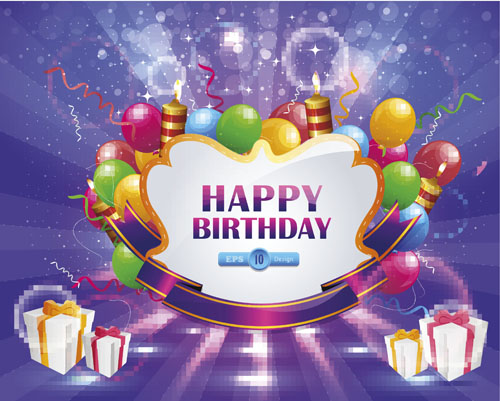 Happy Birthday Elements Card Vector 05 Free Download