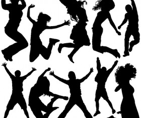 Jumping People Silhouettes vector 02