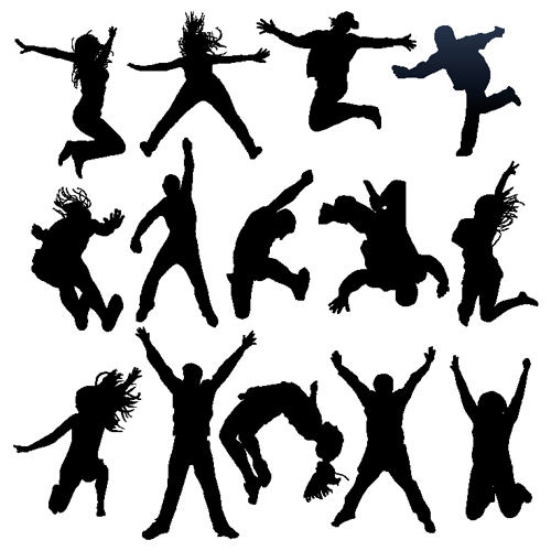 Jumping People Silhouettes vector 03