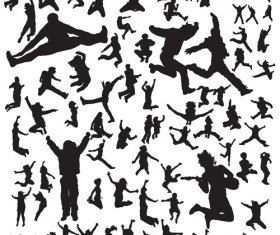 Jumping People Silhouettes vector 04