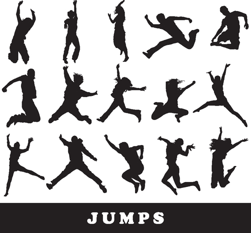 Jumping People Silhouettes vector 05
