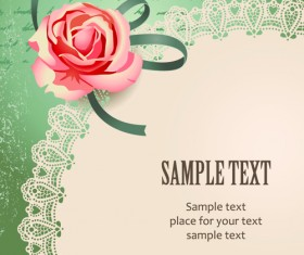 Elements of Vintage Romantic Roses Cards vector 06