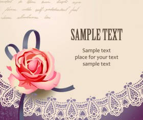 Elements of Vintage Romantic Roses Cards vector 01