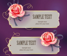 Elements of Vintage Romantic Roses Cards vector 02