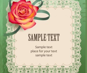 Elements of Vintage Romantic Roses Cards vector 03