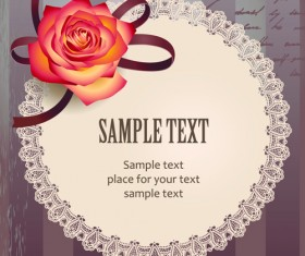 Elements of Vintage Romantic Roses Cards vector 04