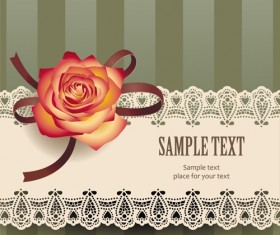 Elements of Vintage Romantic Roses Cards vector 05
