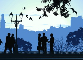 Romantic of City with People Silhouettes vector 01