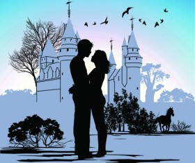 Romantic of City with People Silhouettes vector 02