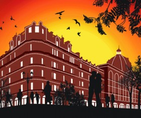 Romantic of City with People Silhouettes vector 05