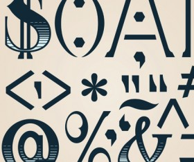 Russian and English alphabet, numbers, symbols vector 05