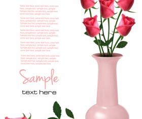Set of Pretty rose elements vector 01
