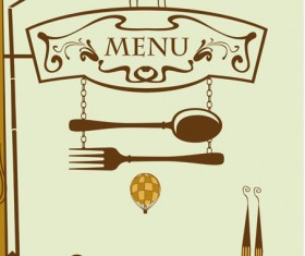 Set of Retro cover menu cafe and restaurant vector 01