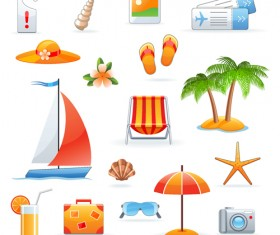 Set of Summer seashore elements vector 01