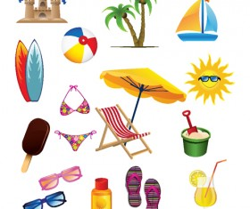 Set of Summer seashore elements vector 02