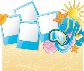 Set of Summer holidays elements vector background 01