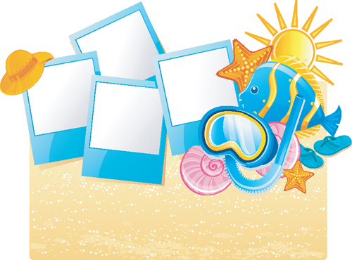 Happy Summer Holidays Background Vector: Set Of Summer Holidays Elements Vector Background 01 Free