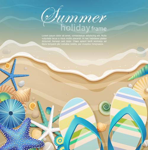 Set of Summer holidays elements vector background 02