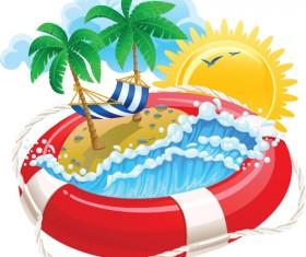 Set of Summer holidays elements vector background 04