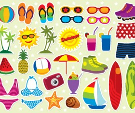 Set of Summer seashore elements vector 04