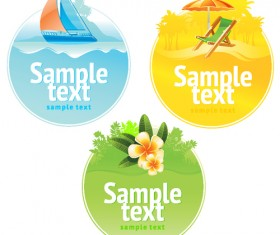 Set of Summer seashore elements vector 05