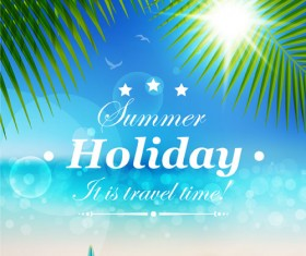 Set of Summer holidays elements vector background 05