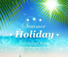 Set of Summer holidays elements vector background 05