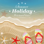 Link toSet of summer holidays elements vector background 06