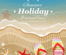 Set of Summer holidays elements vector background 06