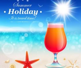 Set of Summer holidays elements vector background 09