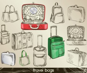Set of Travel bags Illustration vector 03