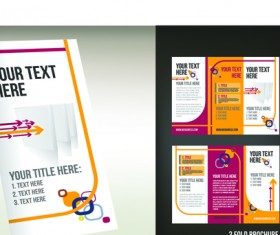 Set of Tri fold business brochure cover vector 07