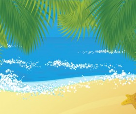 Elements of Tropical Beach background vector art 01