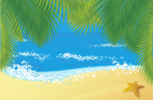 Elements Of Tropical Beach Background Vector Art 01 Free Download