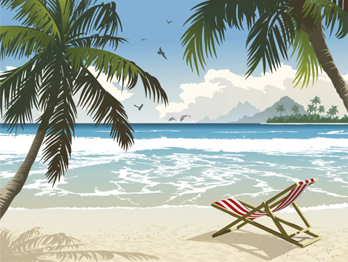 Elements of Tropical Beach background vector art 02