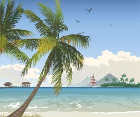 Elements of Tropical Beach background vector art 03