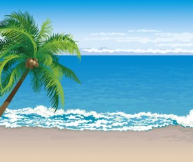 Elements of Tropical Beach background vector art 04