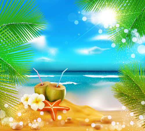 Elements of Tropical Beach background vector art 05