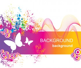 Set of Vector Colorful Butterflies background 03