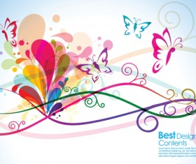 Set of Vector Colorful Butterflies background 04