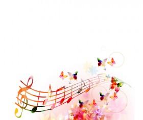 Vector Butterflies and flower background art 05